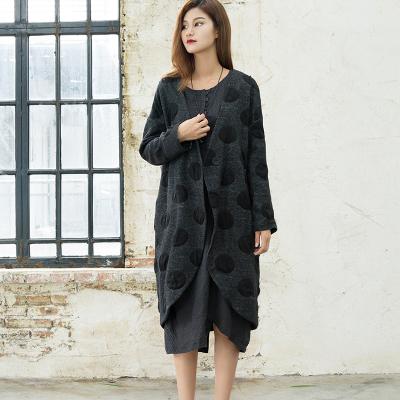 然朴芮 大圆点亚麻羊毛外套茧型大衣 R252#