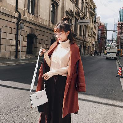 恩黛 毛呢外套女2017冬新款韩版长款过膝一粒扣宽松加厚妮子大衣 Q047F6142