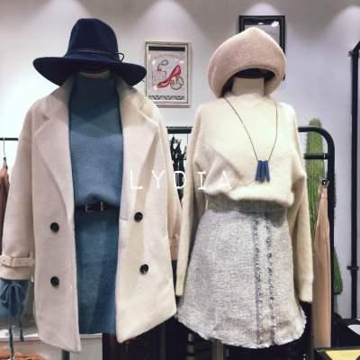 【11号】LYDIA 2017新款四纽扣米白色加厚夹棉外套