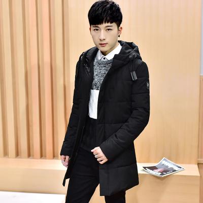 圣仕轩2017年冬季新款中长款黑色棉衣带帽棉衣1821#