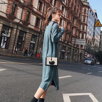 恩黛 2017冬季新款韩版高领套头中长款毛衣女宽松针织连衣裙开叉 F6188