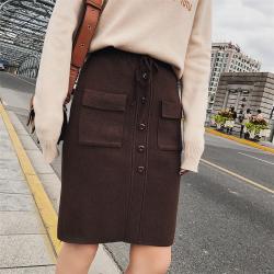 恩黛 2017冬新款韩国高腰松紧腰口袋针织加厚半身裙A字裙中裙女 F6181
