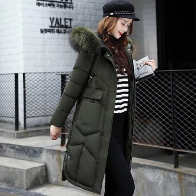 布桂坊2017女新款修身显瘦大码加长加厚过膝韩版棉外套女961