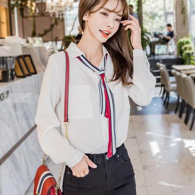 恩黛 2017冬季新款女装韩版气质领带POLO衫衬衣女长袖学生衬衫 Q047F6134