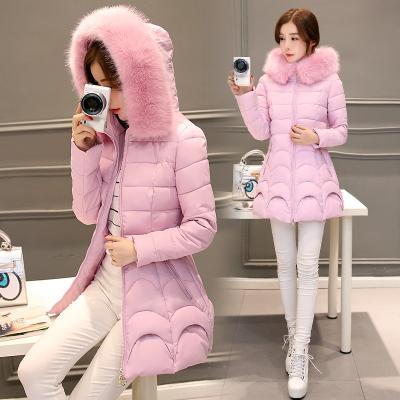 2017冬装新款羽绒服中长款本色毛领加厚棉服外套潮
