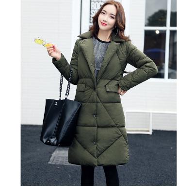 实拍2017秋冬新款韩版西装轻薄中长款修身显瘦羽绒棉服女外套