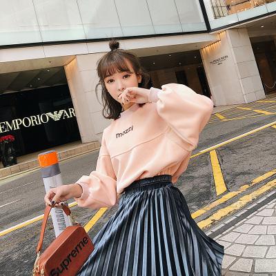 恩黛 2018春季韩版新款刺绣字母圆领套头宽松加绒女卫衣 Q047F6228