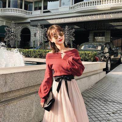恩黛 韩版女装2018春季新款长袖宽松针织衫圆领灯笼袖毛衣 Q047F6224