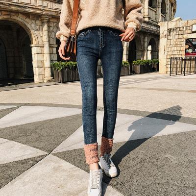 恩黛 一件代发秋冬新款牛仔裤女韩版女装修身羊羔毛拼接小脚裤 Q047F6218