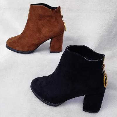 足尚 韩版时尚高跟女短靴女鞋 758