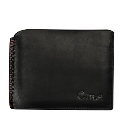 斯诺 时尚编织复古擦色新版男士真皮短款钱包C34851