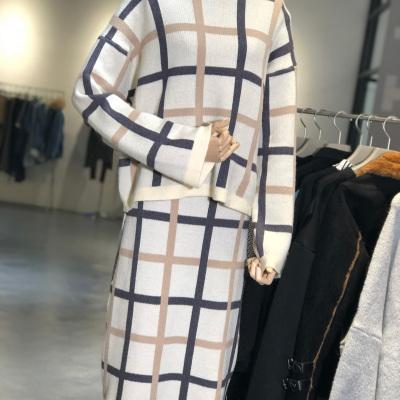 【9号】L'AMOR 格子高腰半身裙加厚磨毛套装裙两件套 1204