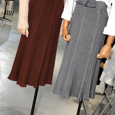 【12号】L'AMOR 高腰显瘦弹力腰针织大摆裙A字半身裙 1242