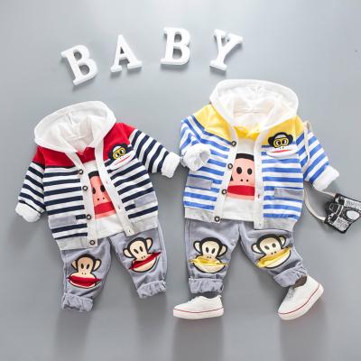 男童装宝宝秋装婴儿幼儿童1衣服2岁3小童三件套装2017新款大嘴猴