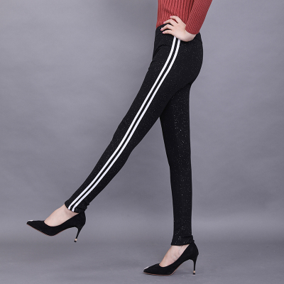 鸿秀2017年新款铅笔裤长裤黑色6082