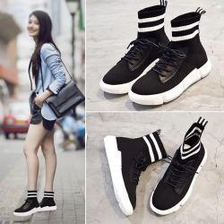 短靴女秋冬加绒袜子靴女韩版弹力靴厚底飞织休闲平底短筒运动鞋