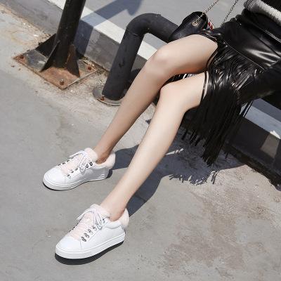 冬季新款真皮加绒毛毛鞋平底休闲女鞋小白鞋浅口滑板鞋
