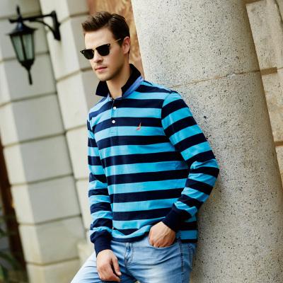NATCAL 商务休闲修身型男式间条纯棉长袖polo衫 78008