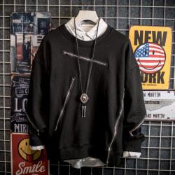 2018年春装新款国潮 斜拉链圆领套头卫衣 5002