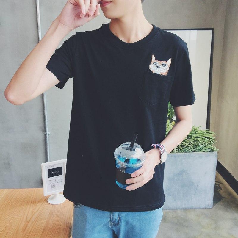港风刺绣卡通猫 韩版口袋短袖T恤 ...