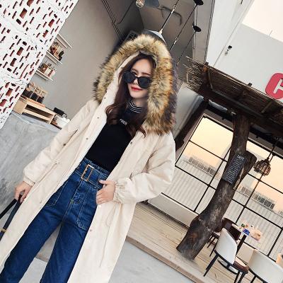 恩黛 2017冬新款韩版大毛领加厚棉衣宽松长款棉服长袖连帽外套 Q047F6207