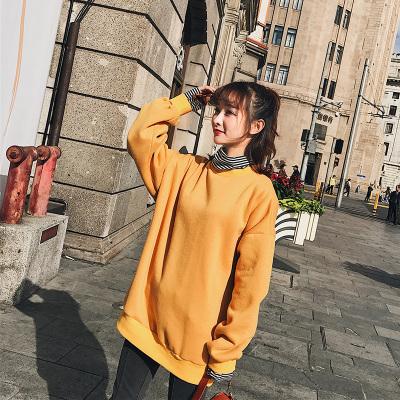 恩黛 2017秋冬韩版女装高领拼接假两件套蝙蝠袖长袖卫衣 Q047F6180