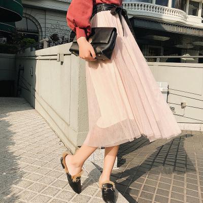 恩黛 2018春夏新款女装网纱拼接高腰半身裙显瘦修身百褶裙 Q047F6226