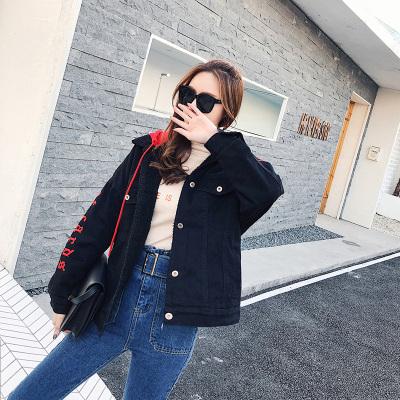 恩黛 2017新品韩版女装宽松牛仔上衣长袖连帽棒球服 Q047F6205