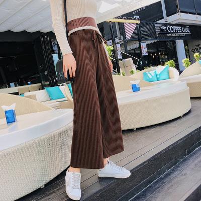 恩黛 2018春季新品韩版女装高腰螺纹阔腿裤系带宽松显瘦针织长裤 Q047F6239