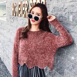 恩黛  2017新款小香风短款毛衣女套头韩版学生宽松针织衫 Q047F6194