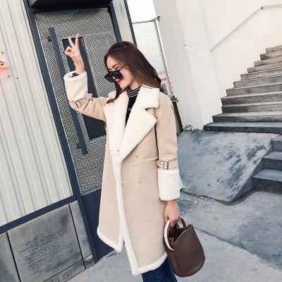 恩黛 2017冬季新款加厚保暖灯芯绒外套韩版长款宽松风衣 Q047F6202