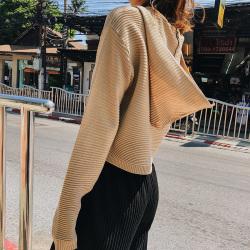 恩黛  2018春季新品韩版女装宽松针织毛衣宽松显瘦连帽针织衫 Q047F6240