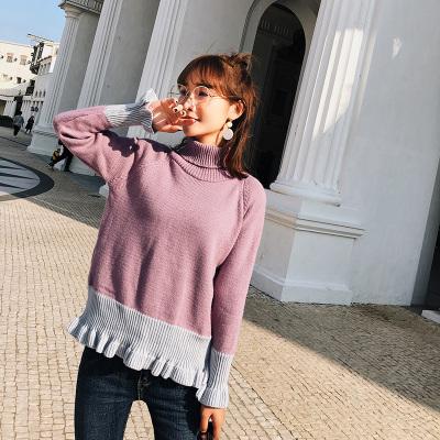 恩黛 2018冬装韩版新款高领毛衣木耳边长袖打底针织衫套头 Q047F6215