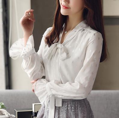 布桂坊2018新款女装长袖雪纺衫衬衫气质白色上衣服春百搭打底衫9002