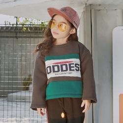 字母印花童卫衣 带帽套头加绒保暖衣童装卫衣 潮范童装男女童卫衣M073