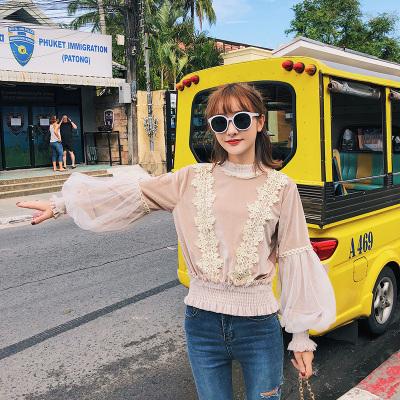 恩黛 2018春季新款韩版女装长袖圆领蕾丝网纱灯笼袖卫衣女 Q047F6252