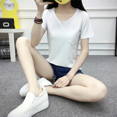 珂织珂索 2018新净色纯棉V领口袋短袖T恤 V01