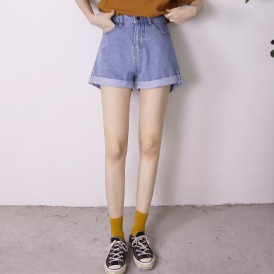 米雪阁 学院风经典款百搭纯色牛仔裤高腰卷边短裤 9911#