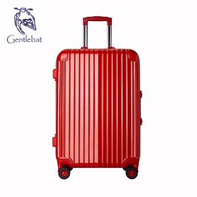 傲世箱包 新款韩版铝框竖条万向飞机轮pc壳浅框配色旅行箱拉杆箱
