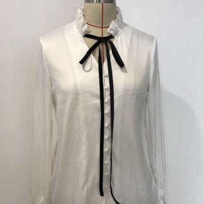 【6】洛琳雅美 2018复古珍珠扣丝绒织带衬衫