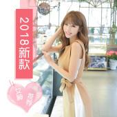 恩黛 2018春夏新款时尚气质百褶雪纺拼接连衣裙 收腰显瘦背心裙 Q047F6859