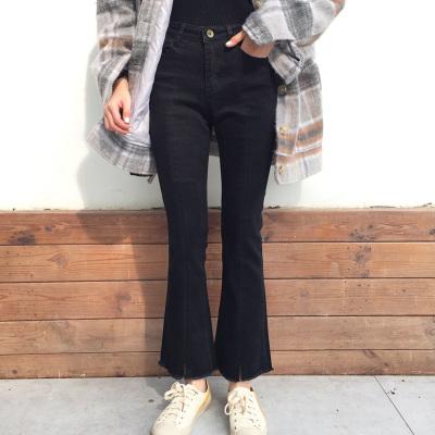 2018春夏百搭前开衩中腰设计显瘦喇叭裤高弹牛仔裤 SC2005