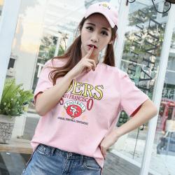 风之信 2019年新款时尚圆领字母印花T恤上衣805