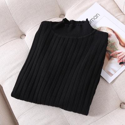 厂家批发新品女装毛衣 时尚纯色翻领长袖针织衫 舒适套头薄毛衣 302