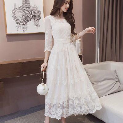 2018年新款上新时尚新款连衣裙白色蕾丝连衣裙