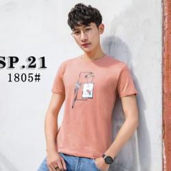 2018年 新款上市 春夏款时尚休闲男圆领短袖T恤 1805