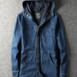 第八道 新款时尚休闲中长款牛仔外套  1509