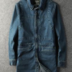 第八道 新款时尚休闲中长款牛仔外套 1503