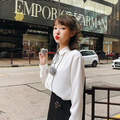 恩黛 2018春季新款女装条纹系带长袖衬衣打底衬衫女 Q047F6222