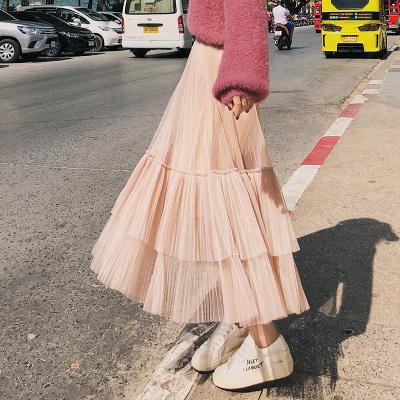 恩黛 2018春季新品韩版女装百褶网纱裙拼接半身裙 Q047F6260